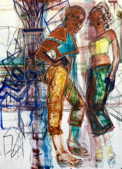 Women with Edges48 x 36   mixed media on paper   2017